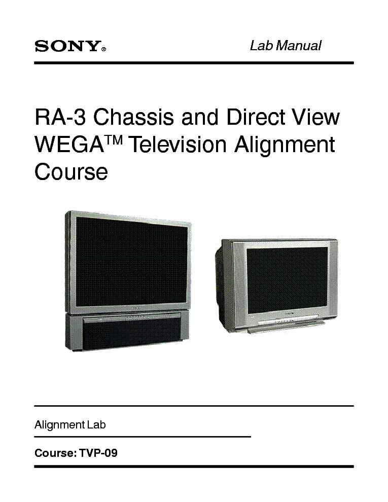 SONY TVP-09 RA-3 CHASSIS TRAINING MANUAL service manual (1st page)