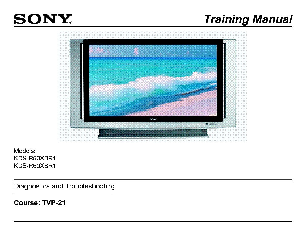 SONY TVP-21 SXRD XBR1 CHASSIS TRAINING MANUAL service manual (1st page)
