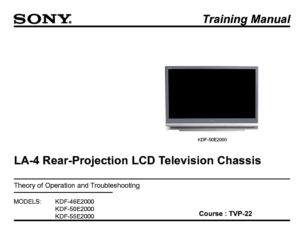 SONY TVP-22 LA4 LCD PROJECTION TRAINING MANUAL service manual (1st page)
