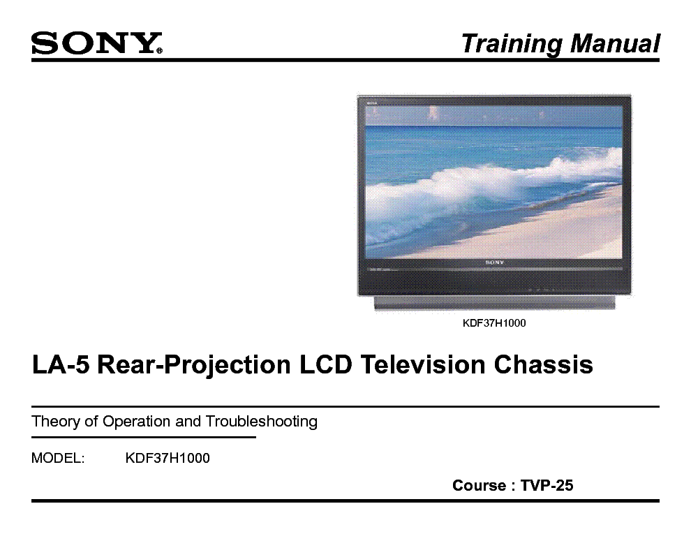 SONY TVP-25 LA-5 CHASSIS TRAINING MANUAL service manual (1st page)