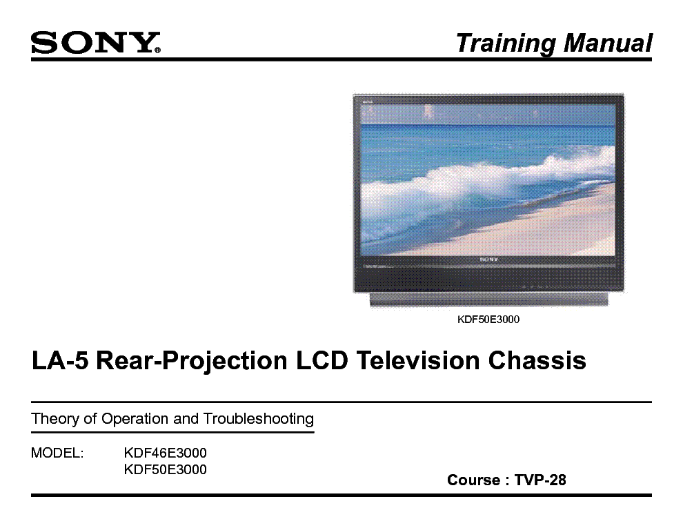 SONY TVP-28 LA5 CHASSIS TRAINING MANUAL  service manual (1st page)