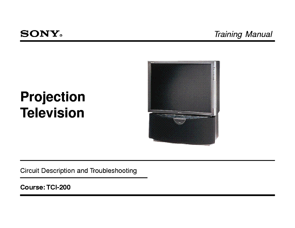 SONY XBR200 CHASISS RA-4 TCI200 CH RA4 TRAINING service manual (1st page)