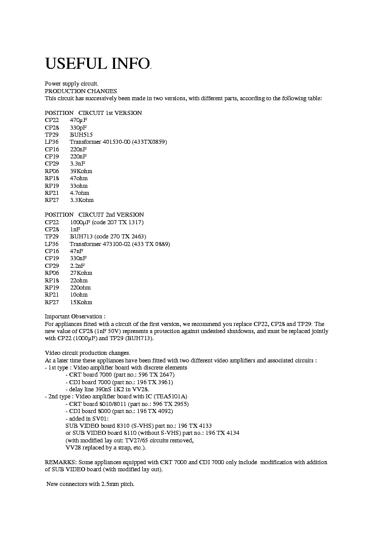SERVICE TIPS CHASSIS ICC8  service manual (1st page)