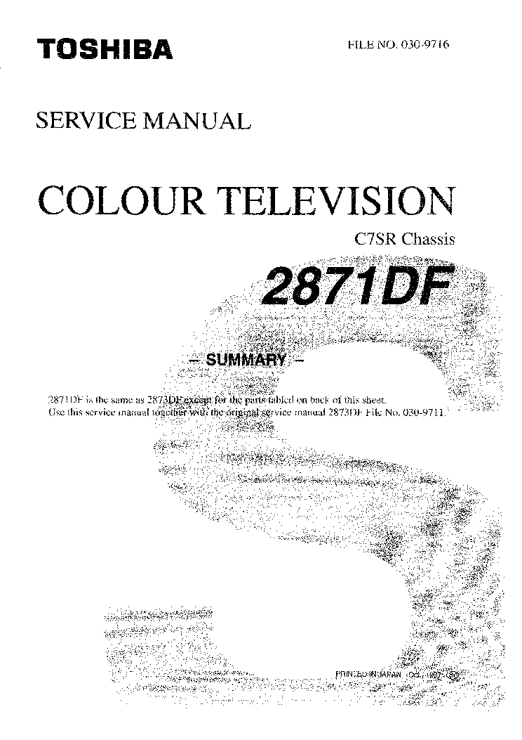 TOSHIBA 2871DF CH C7SR REPLACEMENT INFO service manual (1st page)