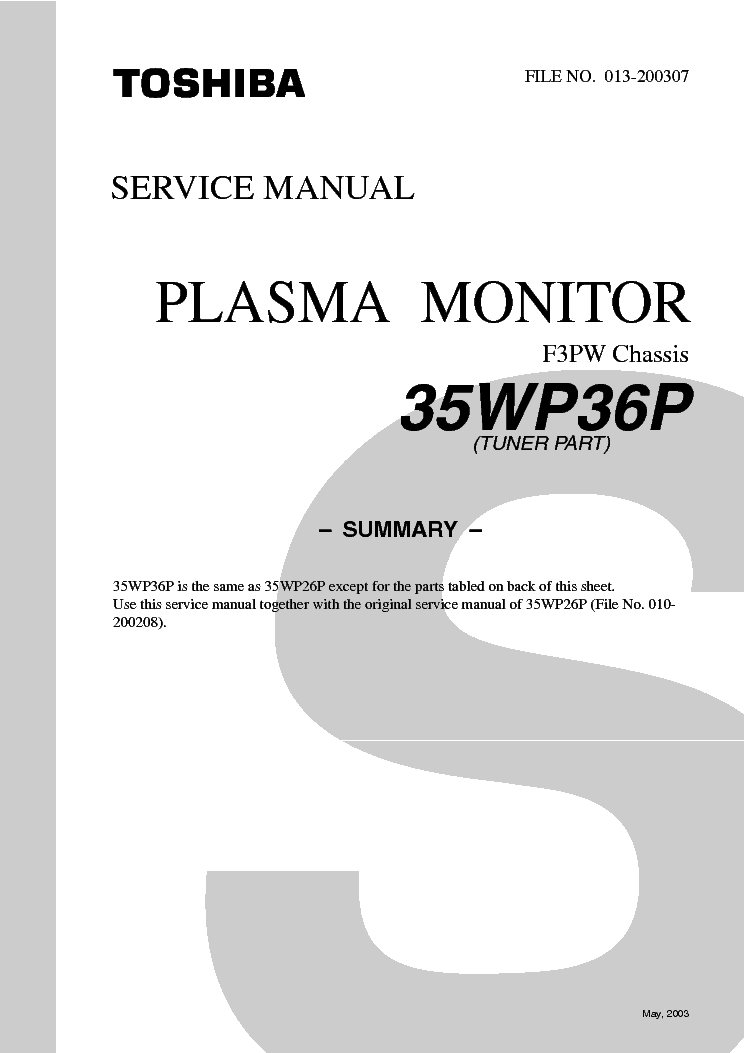 TOSHIBA 35WP36P CHASSIS F3PW TUNER PART service manual (1st page)