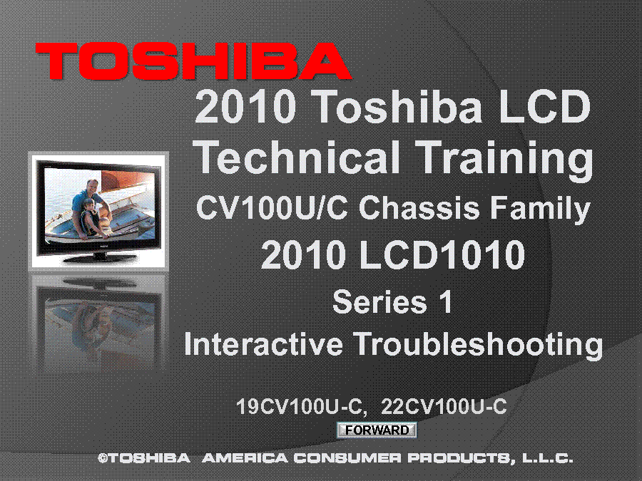 TOSHIBA CHASSIS CV100U C 19CV100U-C 22CV100U-C TECHNICAL TRAINING 2010 service manual (1st page)