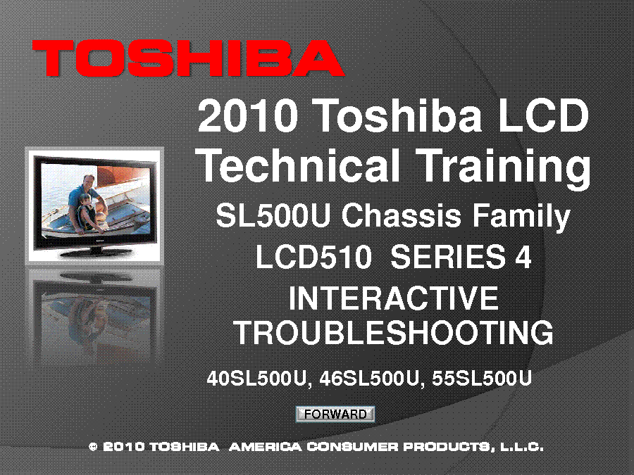 TOSHIBA CHASSIS SL500U 40SL500U 46SL500U 55SL500U TECHNICAL TRAINING 2010 service manual (1st page)