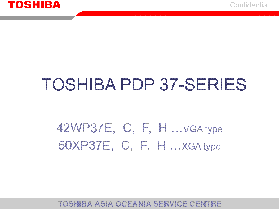 TOSHIBA PDP-37 SERIES TRAINING MANUAL service manual (1st page)