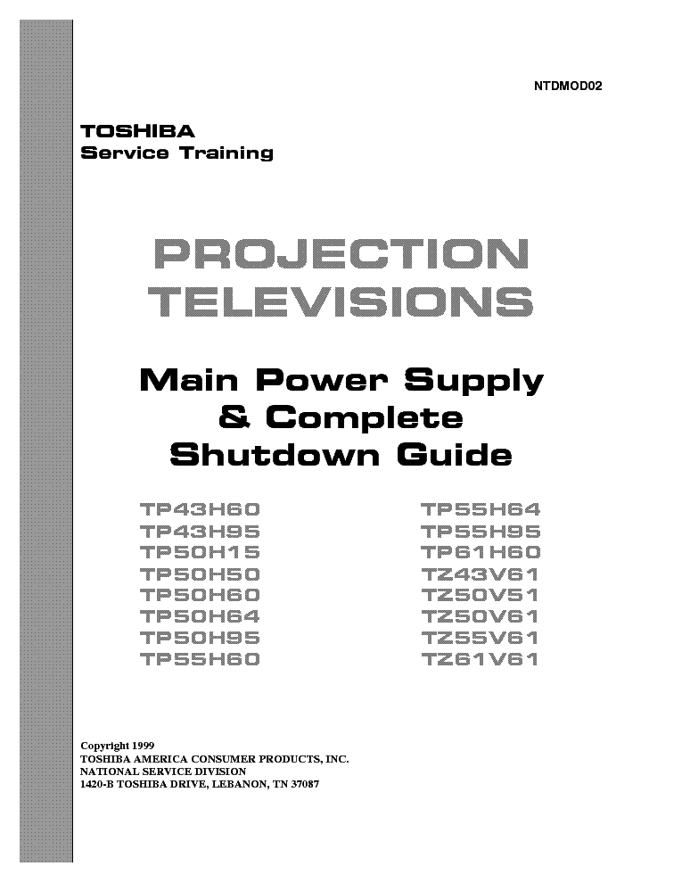 TOSHIBA PJT TV MAIN POWER SUPPLY SHUTDOWN GUIDE TRAINING service manual (1st page)