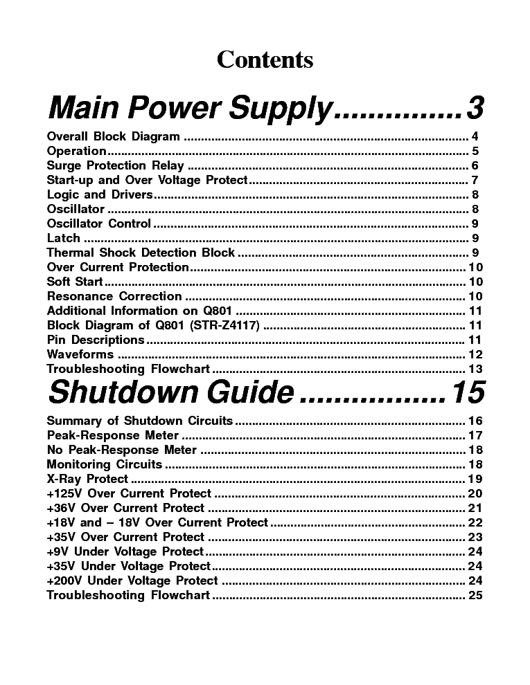 TOSHIBA PJT TV MAIN POWER SUPPLY SHUTDOWN GUIDE TRAINING service manual (2nd page)