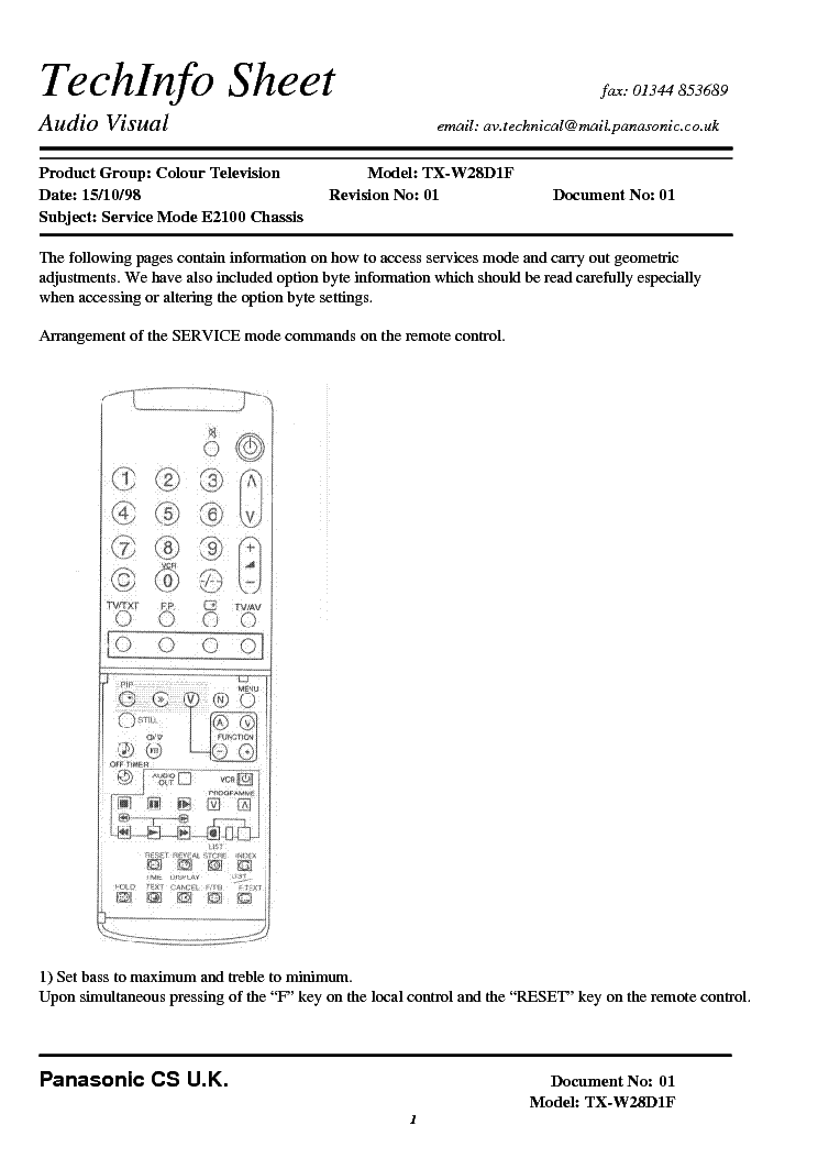 PANASONIC TX-W28D1F CHASSIS E2100 SERVICE-MODE INSTRUCTION service manual (1st page)