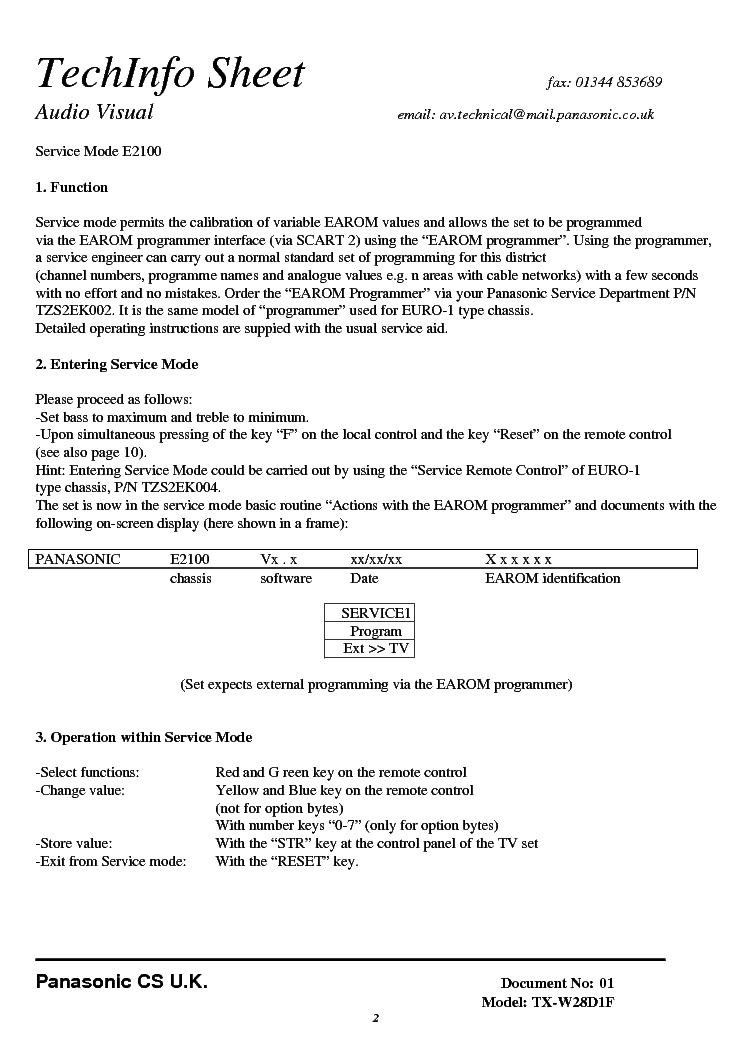 PANASONIC TX-W28D1F CHASSIS E2100 SERVICE-MODE INSTRUCTION service manual (2nd page)