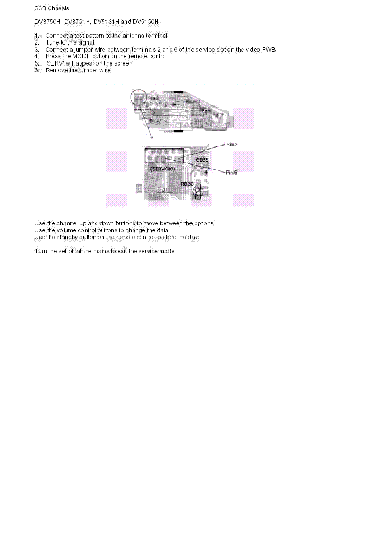 SHARP DV-3750 3751 5131 5150-H CHASSIS S3B SERVICE-MODE service manual (1st page)