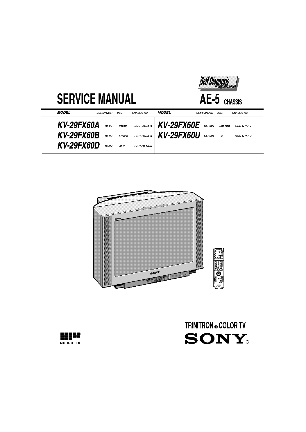 SONY AE-5 service manual (1st page)