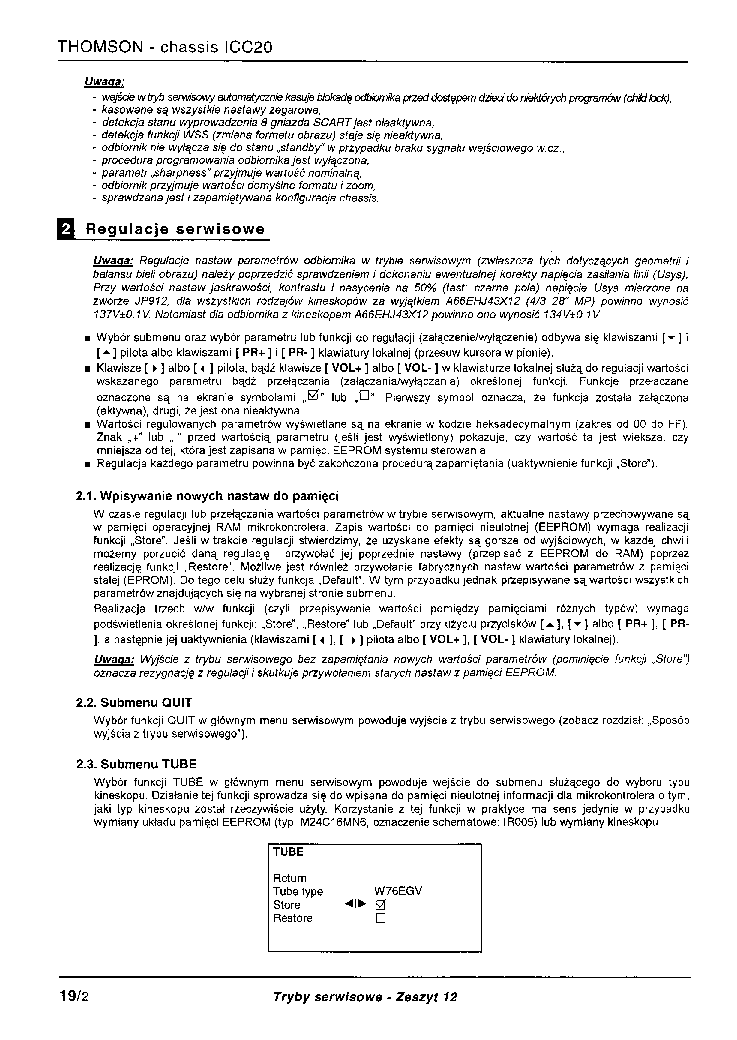 THOMSON ICC20 SERVICE MODE service manual (2nd page)