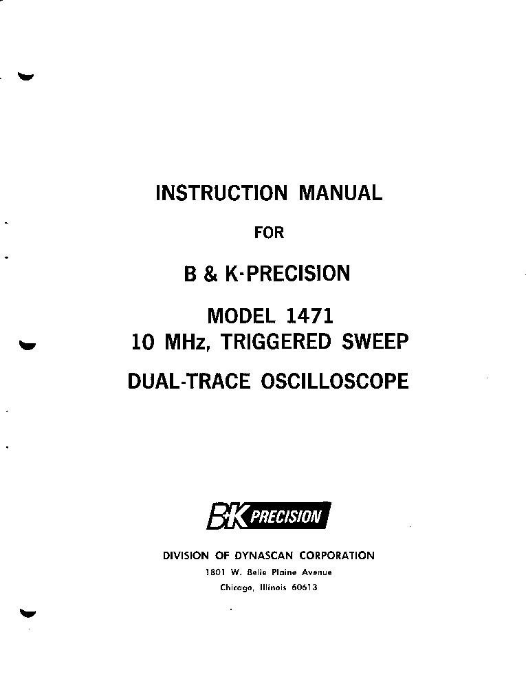 BK-PRECISION 1471 10MV,15MHZ OSCILLOSCOPE INSTR  SM Service Manual