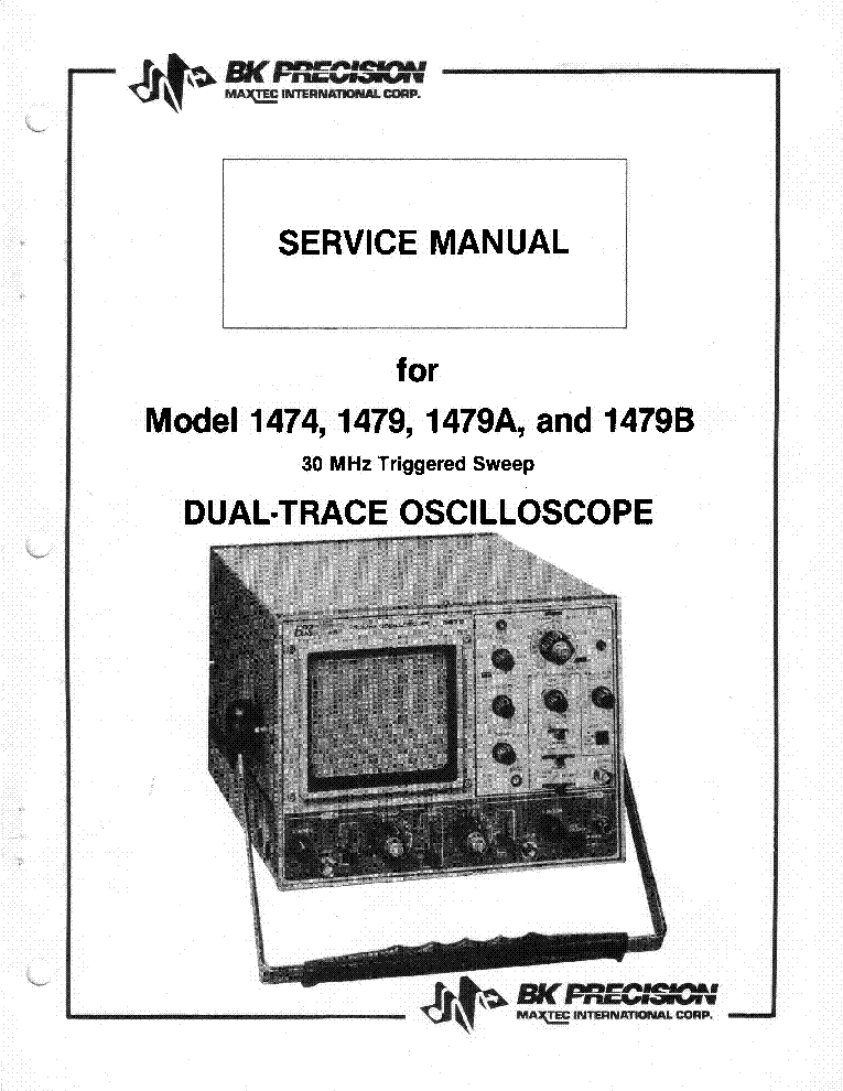 BK-PRECISION 1474 1479 A B 2X5MV 30MHZ DELAYED OSCILLOSCOPE FULL SM service manual