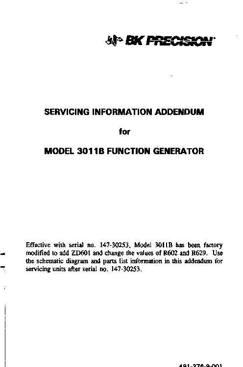 bk precision 3011b function generator servicing information sm rh elektrotanya com function generator specifications pm5138 function generator manual