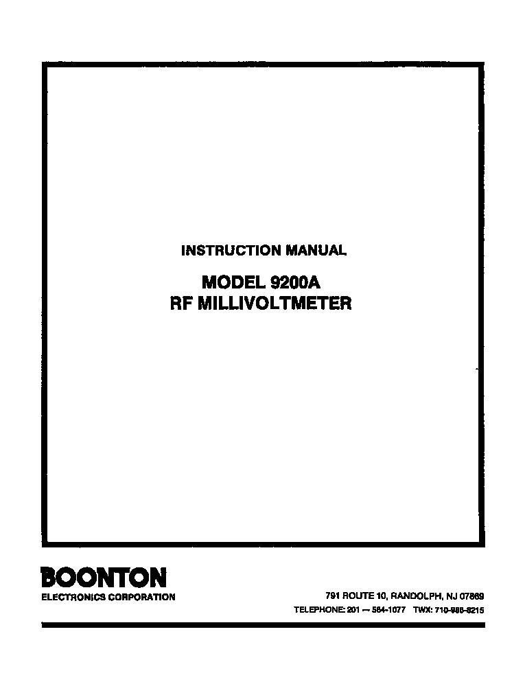 boonton model 9200a rf millivoltmeter service manual With rf millivoltmeter
