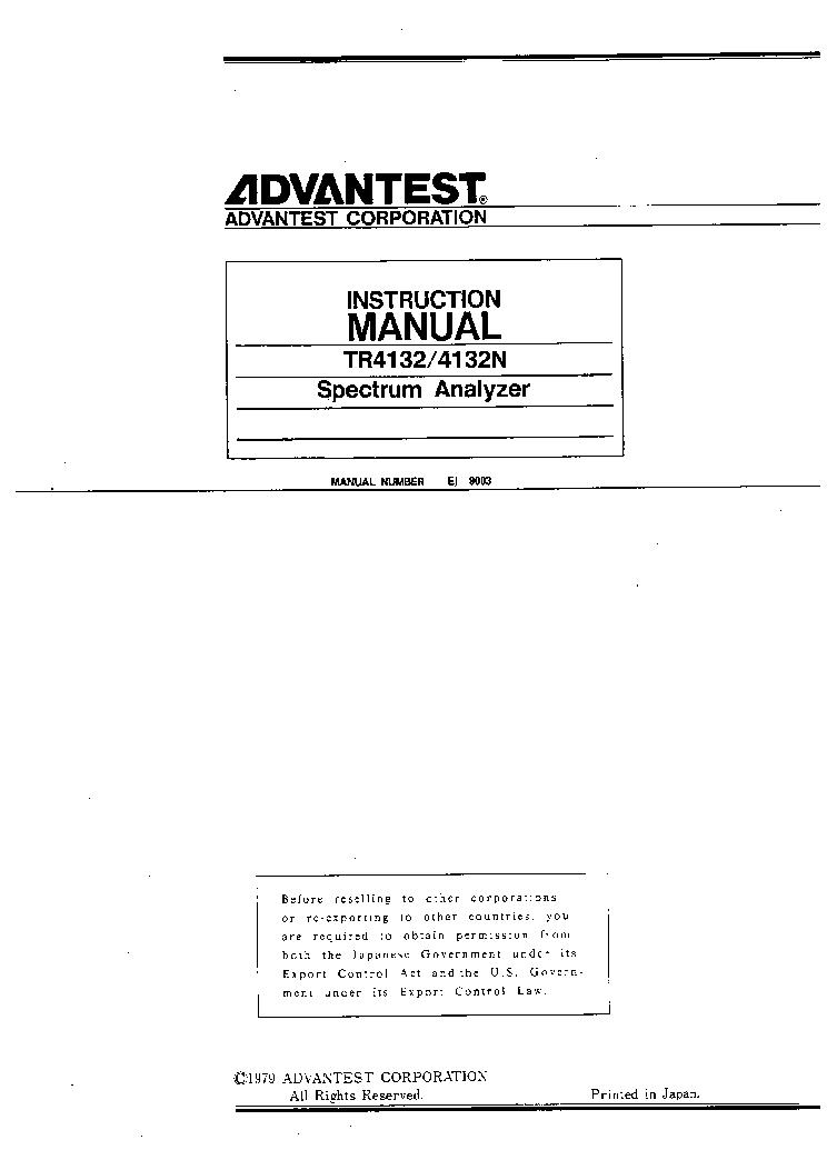 ADVANTEST TR4132 TR4132N SPECTRUM ANALYSER Service Manual download