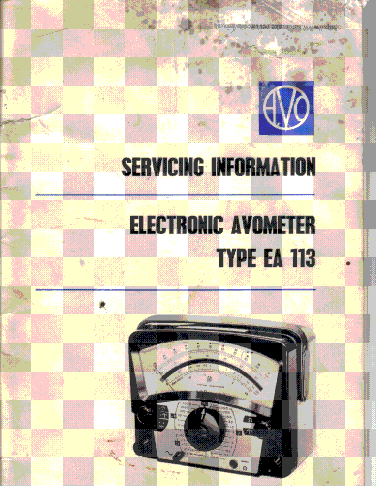AVO EA113 ELECTRONIC AVOMETER CSVM SM service manual (1st page)