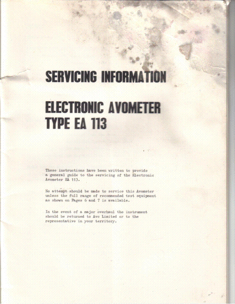 AVO EA113 ELECTRONIC AVOMETER CSVM SM service manual (2nd page)