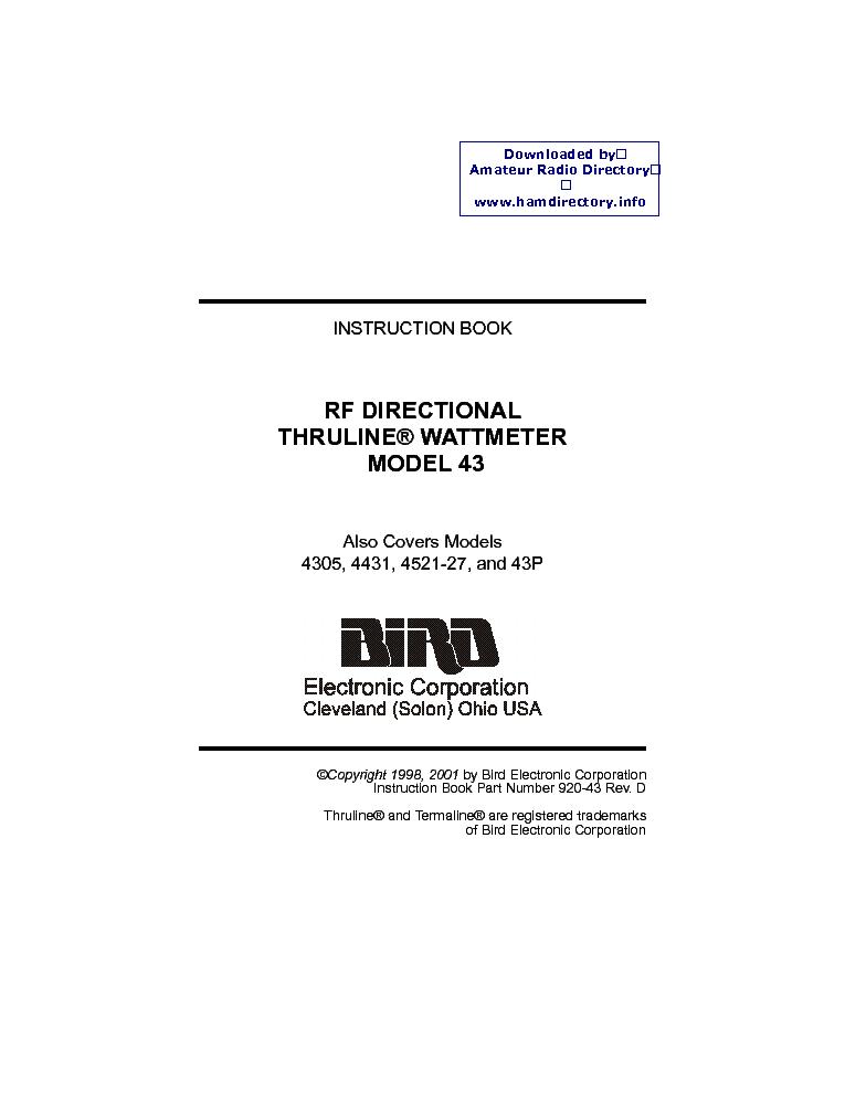BIRD THRULINE-43 2-1000MHZ RF WATTMETER 2001 SM Service Manual