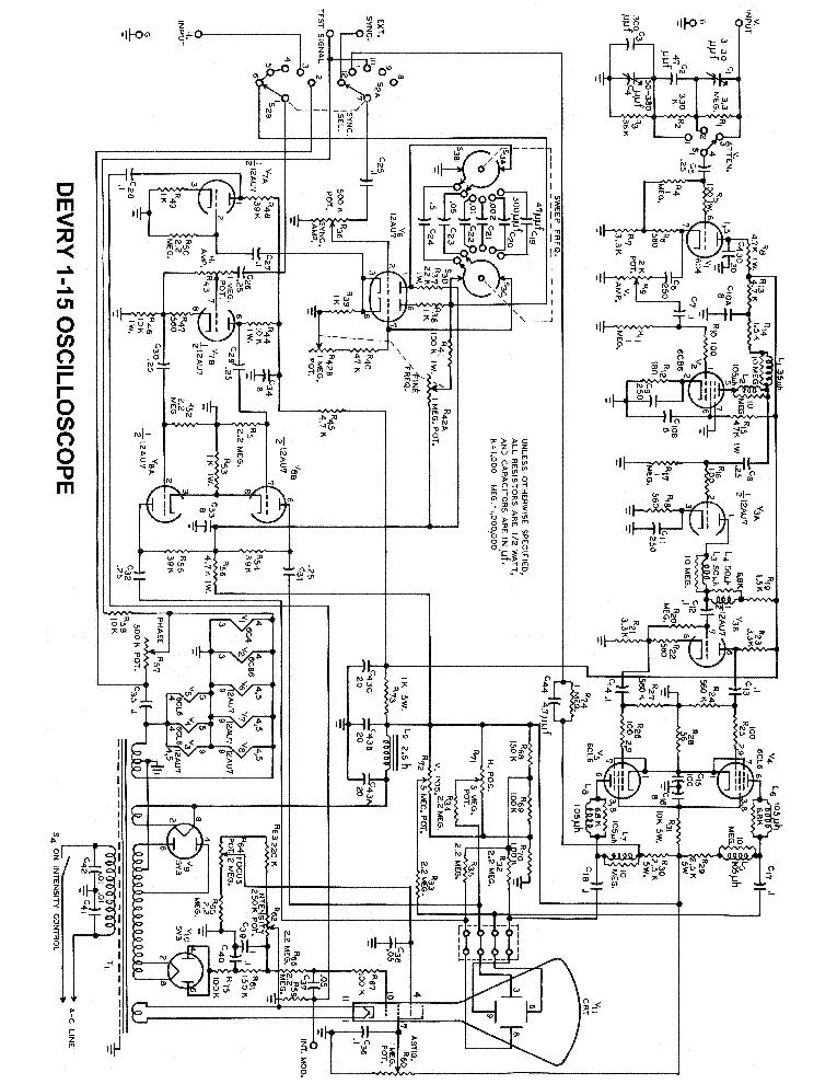 DEVRY 1-15 OSCILLOSCOPE SCH Service Manual download