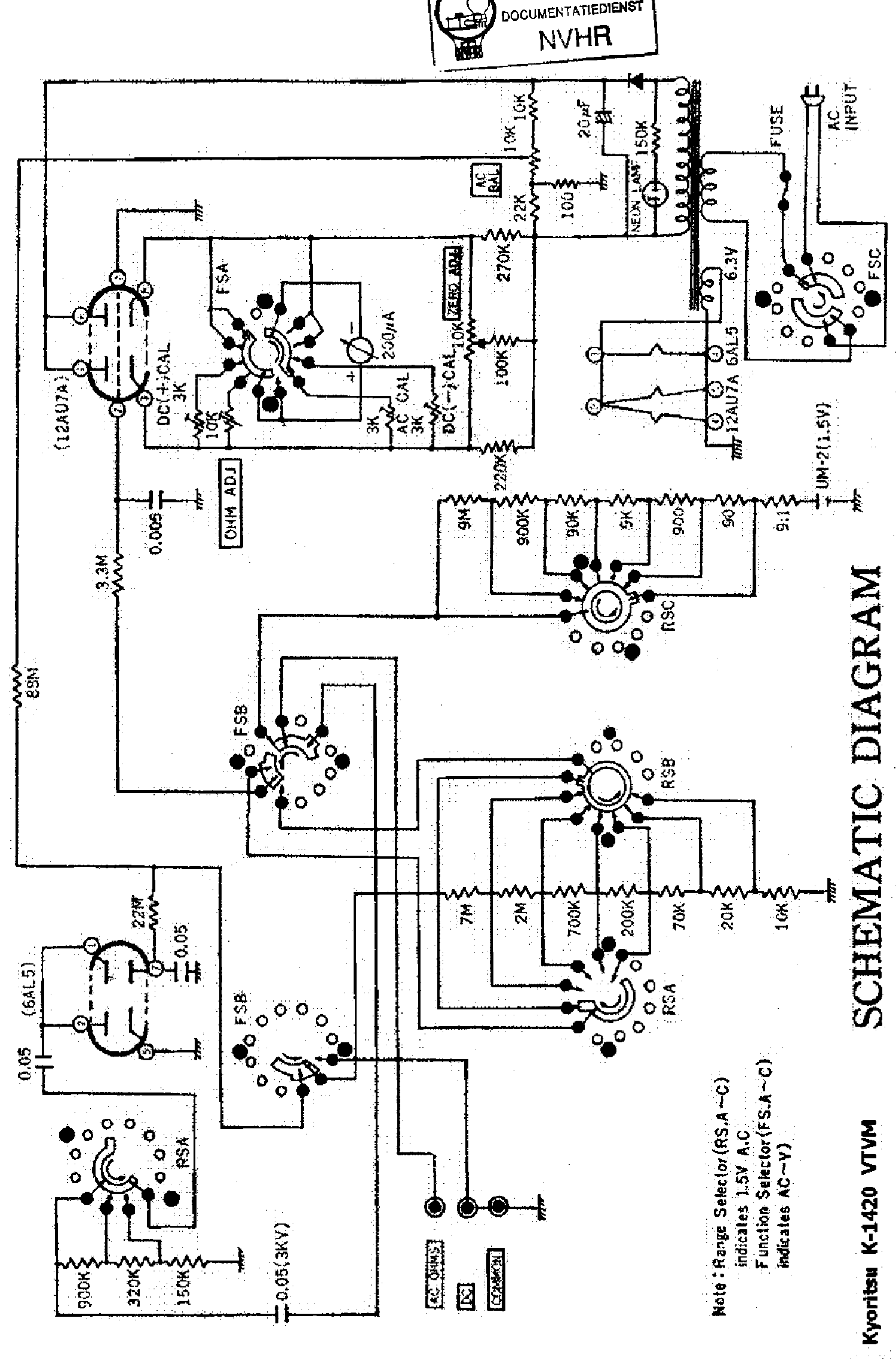 Kyoritsu K1420 Tube Volt Meter Sch Service Manual 1st Page: Voltmeter Gauge Wiring Diagram Sel At Chusao.net