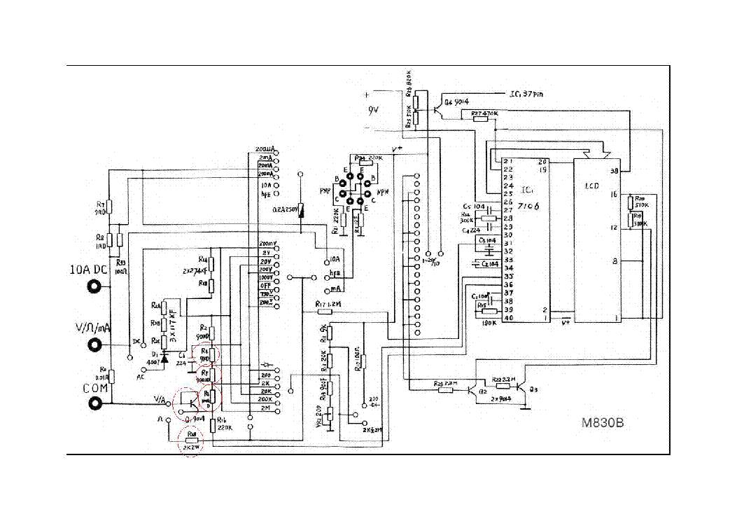 M830b Digital Multimeter Sch Service Manual Download Schematics
