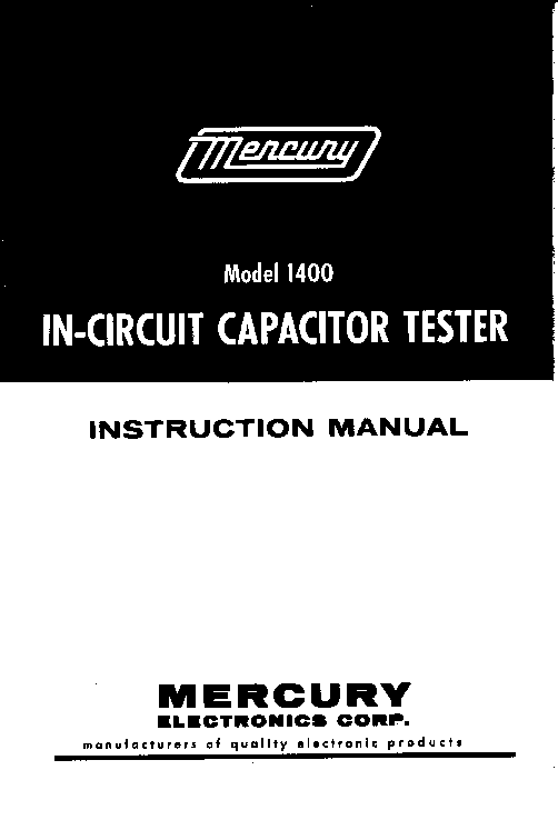 Picture Is A Preview Of Mercury 1400 Incircuit Capacitor Tester Sm