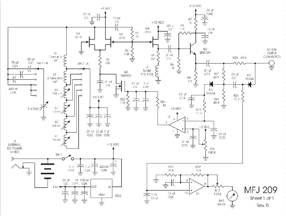 MFJ 209 ANTENNA ANALYZERS SCH Service Manual download, schematics