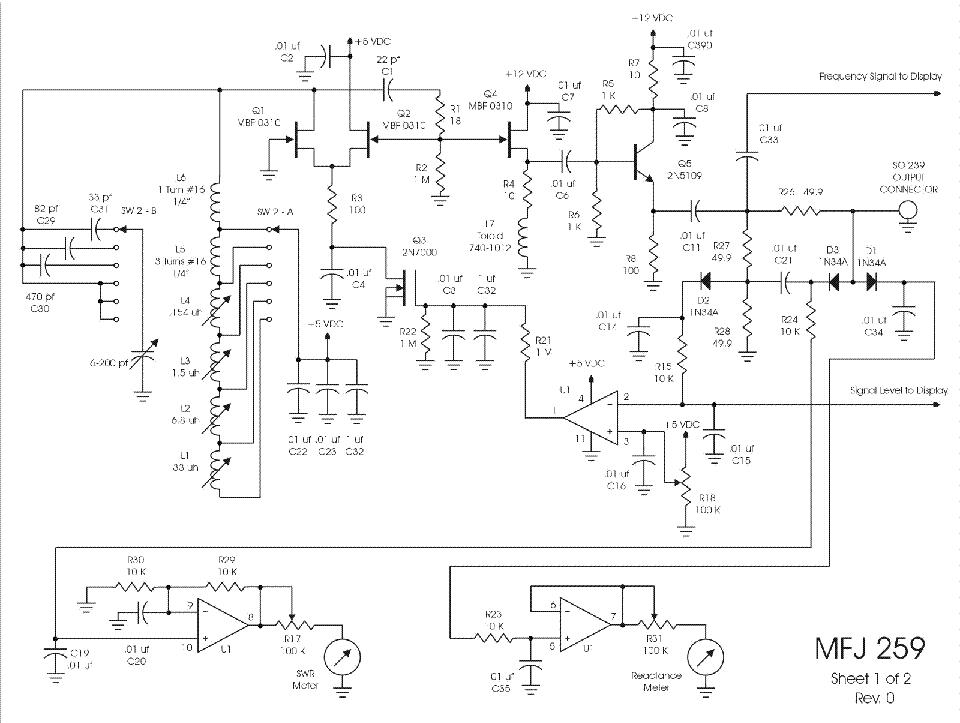 MFJ 259 ANTENNA ANALYZERS SCH Service Manual download, schematics