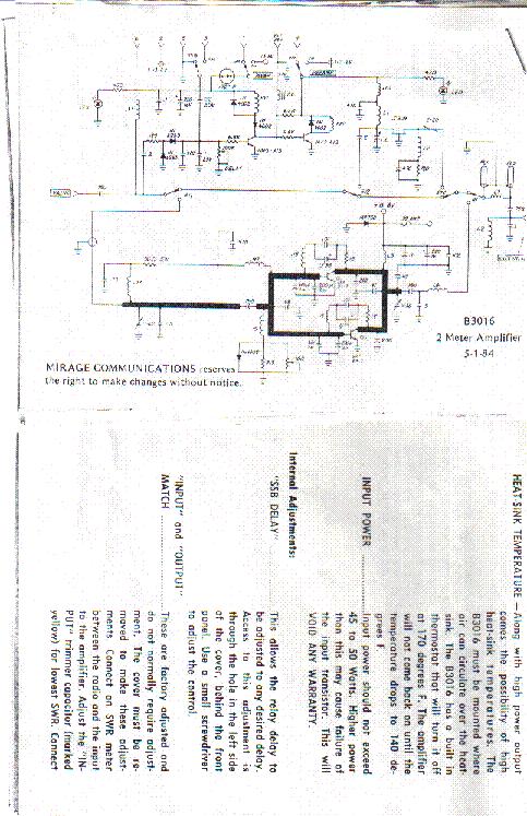 MIRAGE MODEL B3016 2 METER AMPLIFIER Service Manual download