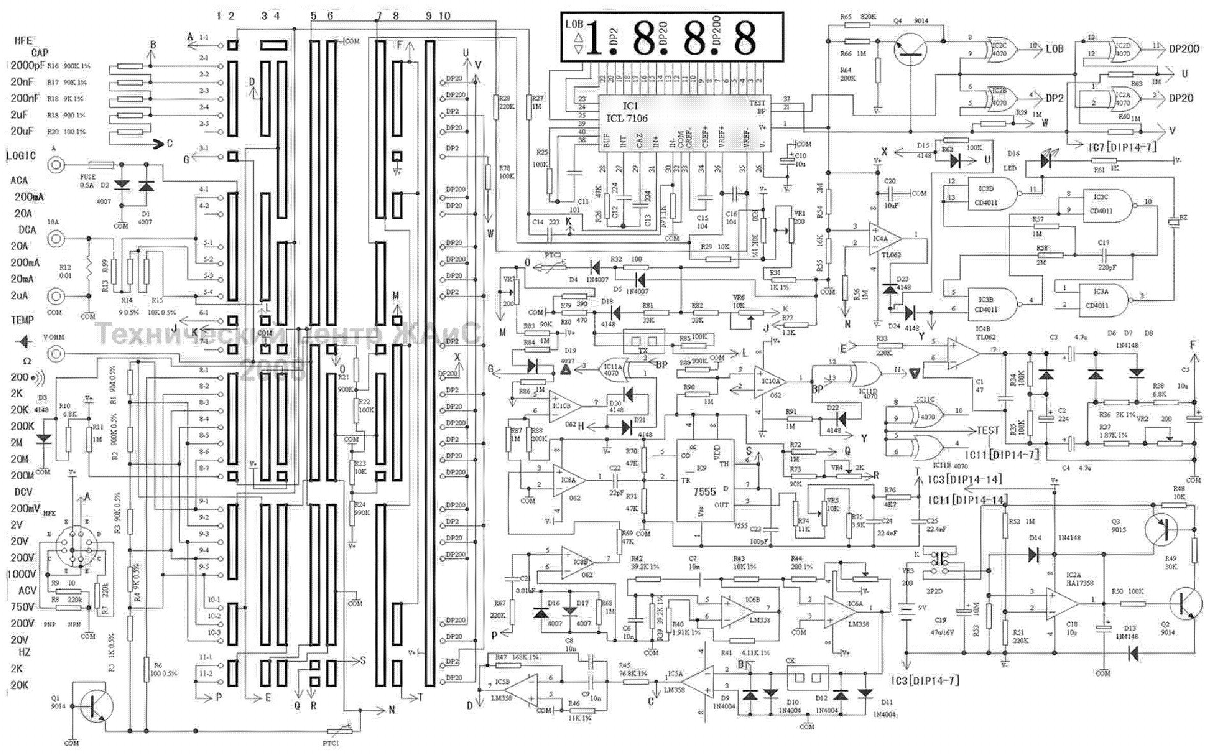 multimeter dt9208 sch service manual download  schematics  eeprom  repair info for electronics