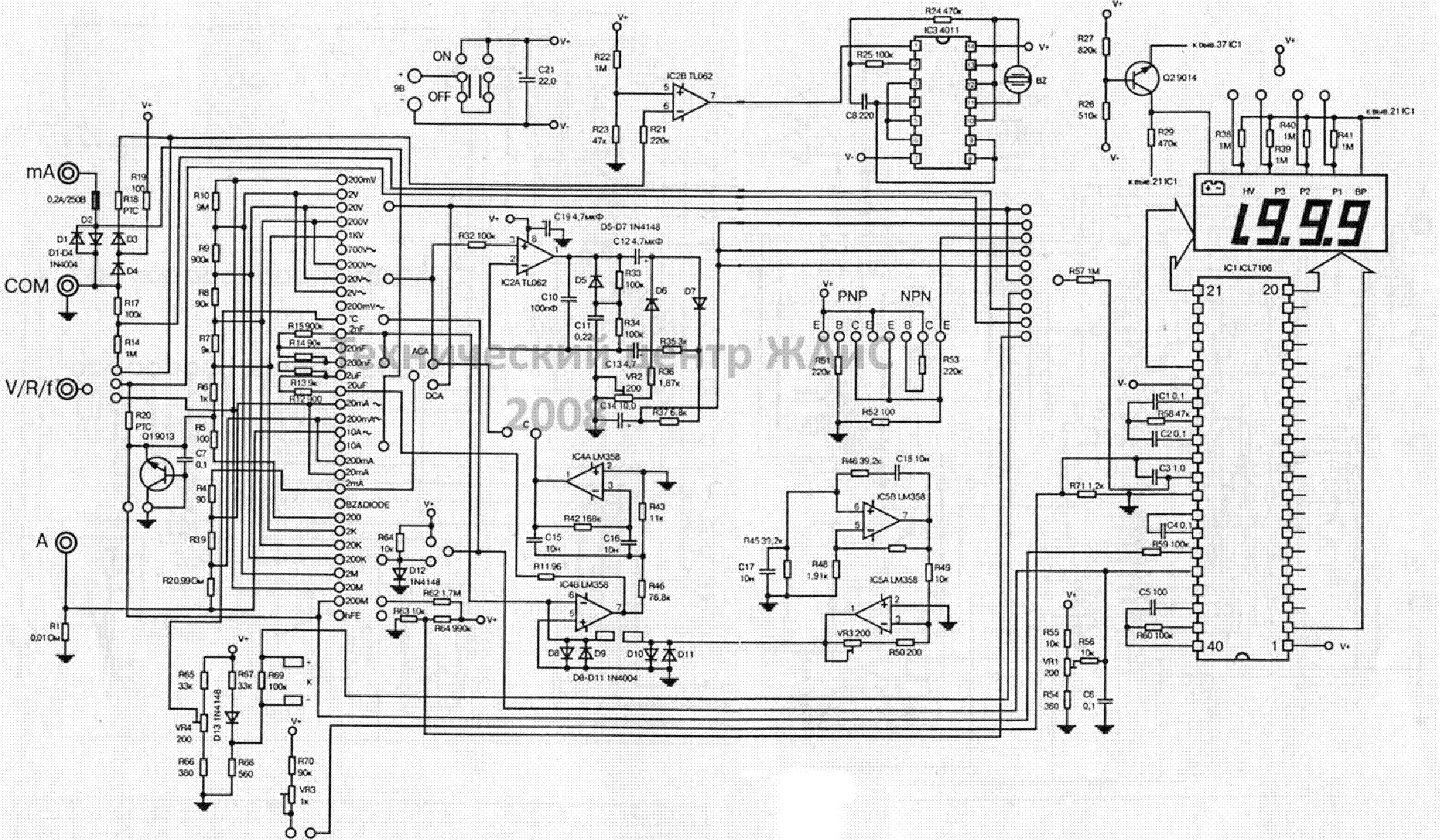 Pictures Of Multimeter Diagram Icl7106 Digital Voltmeter Circuit Schematic Dt9205a Love Wiring