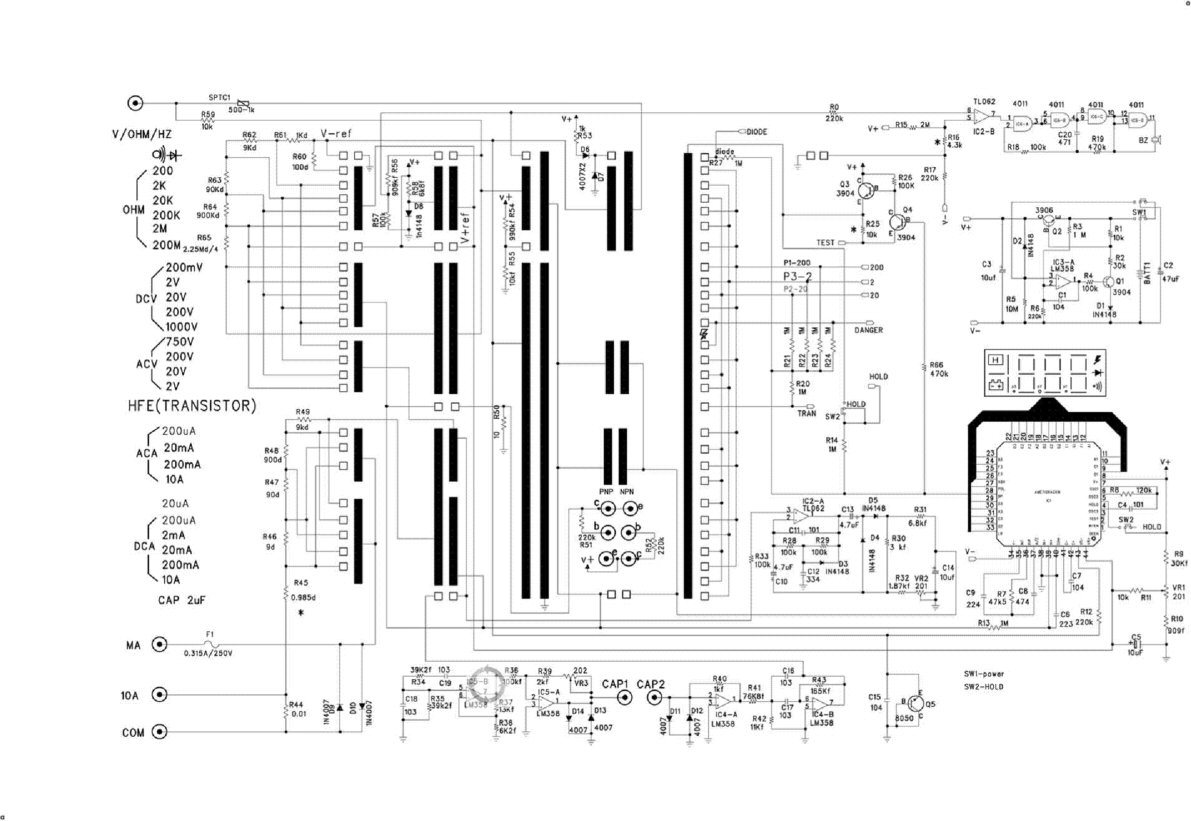 multimeter ut39a sch service manual download  schematics  eeprom  repair info for electronics