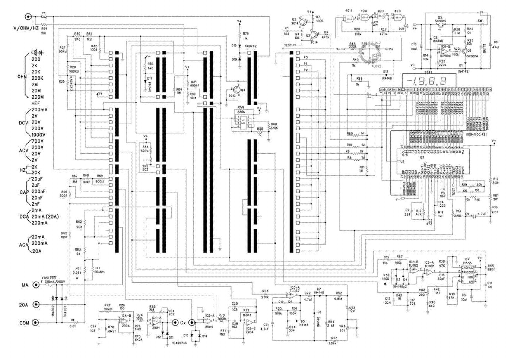 multimeter ut54 sch service manual download  schematics