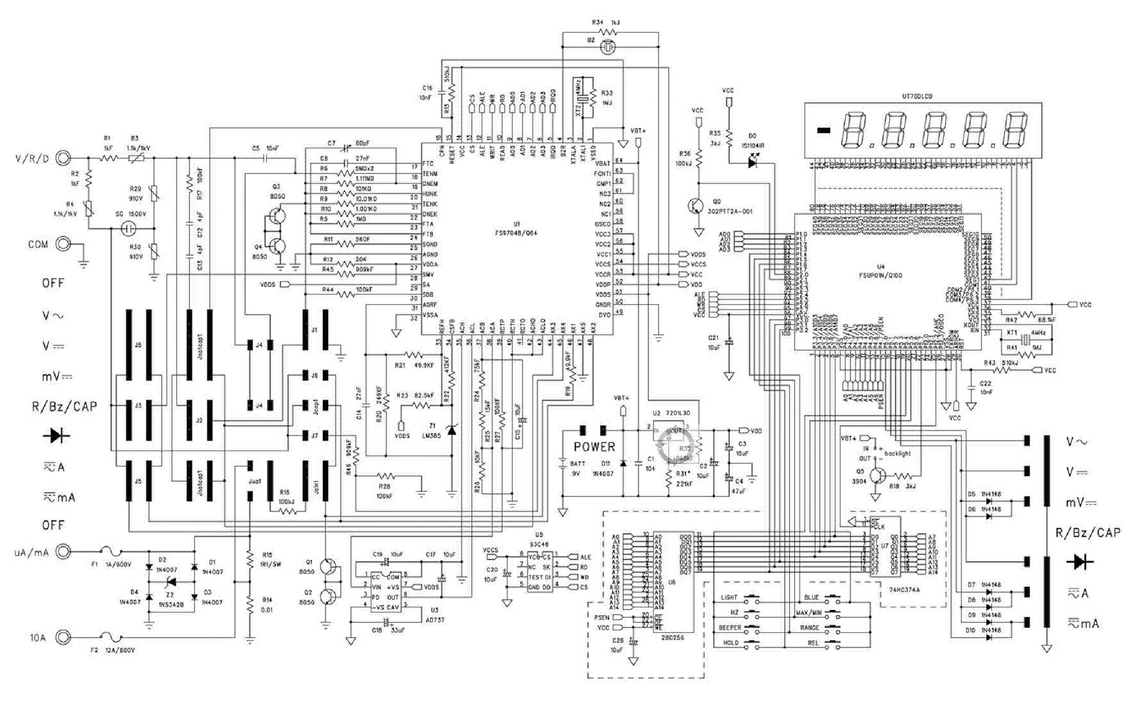 multimeter ut70d sch service manual download  schematics  eeprom  repair info for electronics