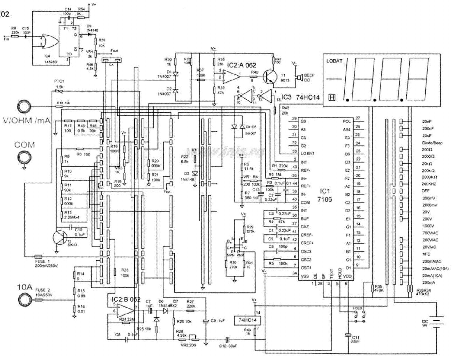 multimeter ut203 sch service manual download  schematics