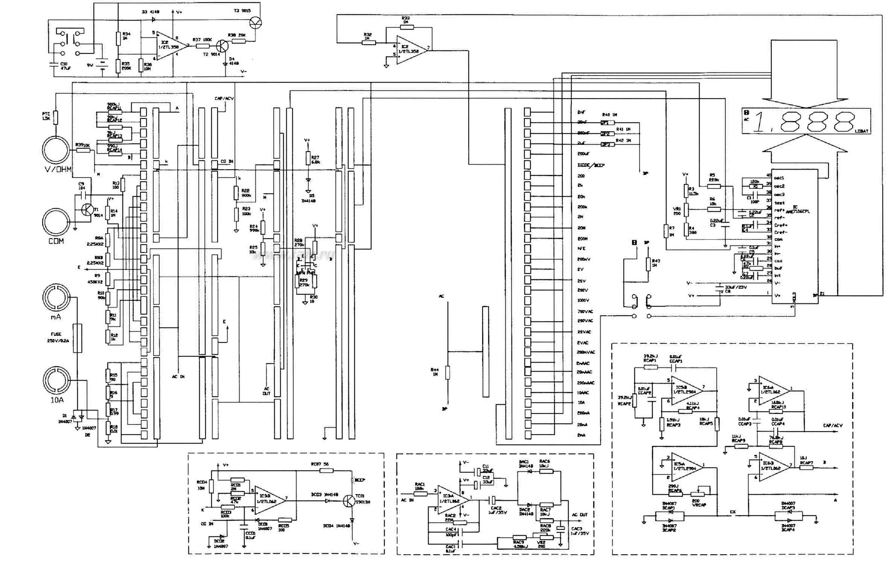 multimeter vc9802a sch service manual download  schematics