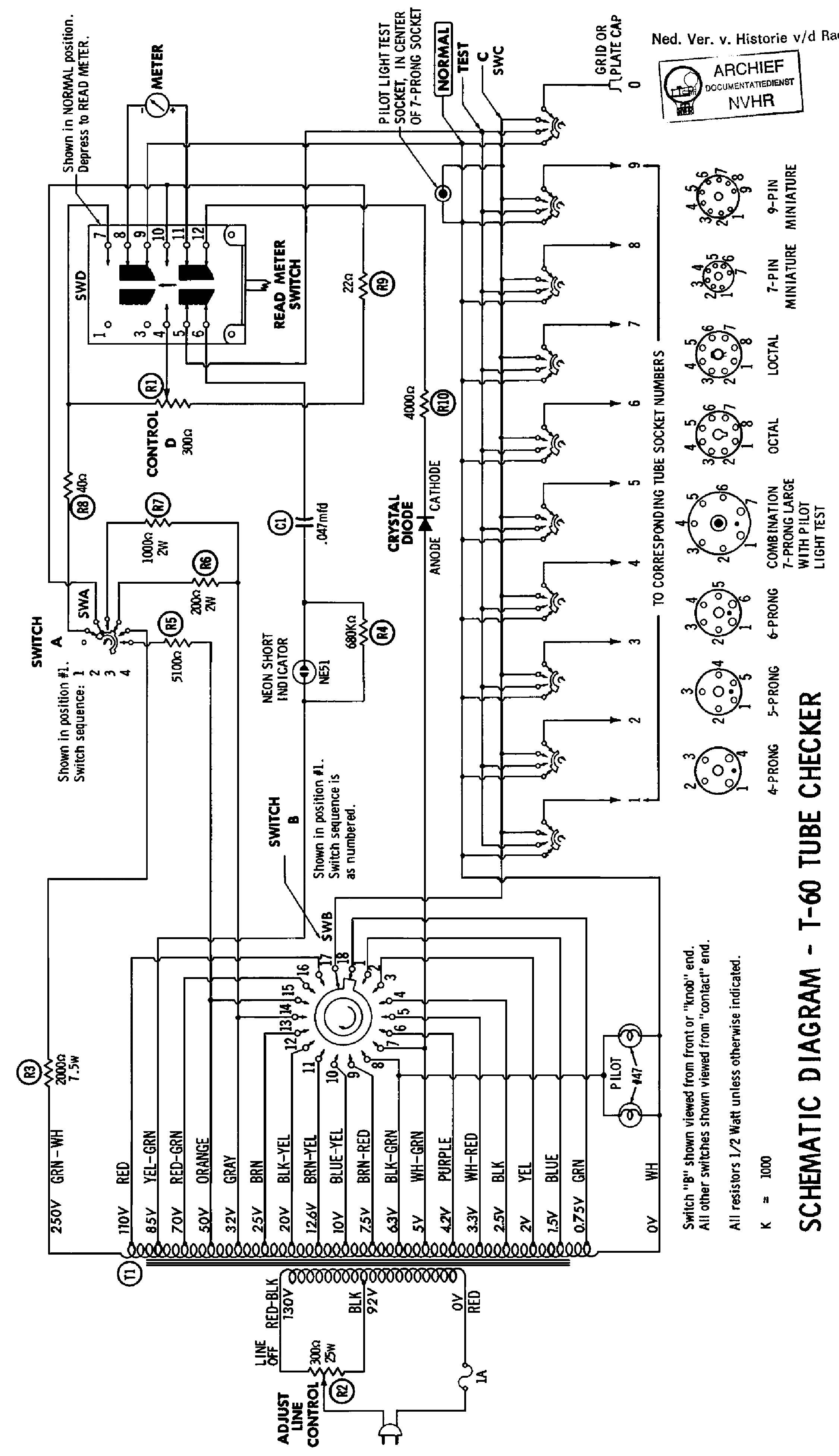 paco t60 tube checker schematic service manual free