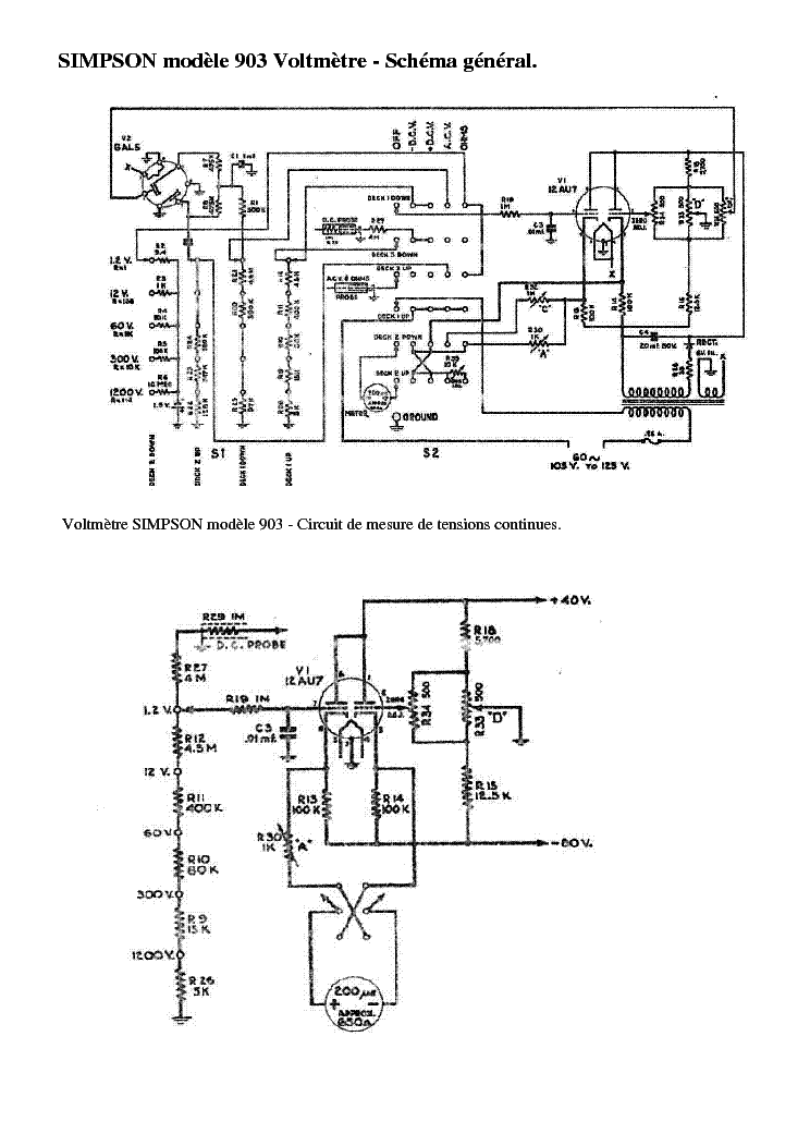 electrical wiring diagram for a simpson 260 multimeter