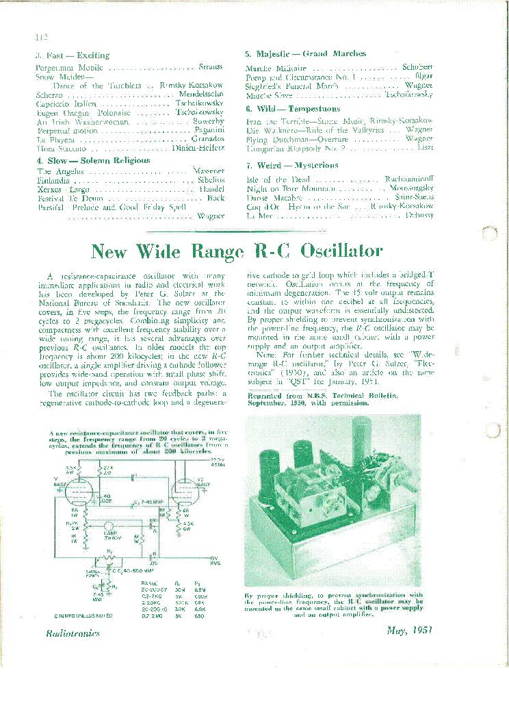 SULZER 20HZ-2MHZ WIDE RANGE 6AG7 RC-OSCILLATOR SCH AWV-RADIOTRONICS