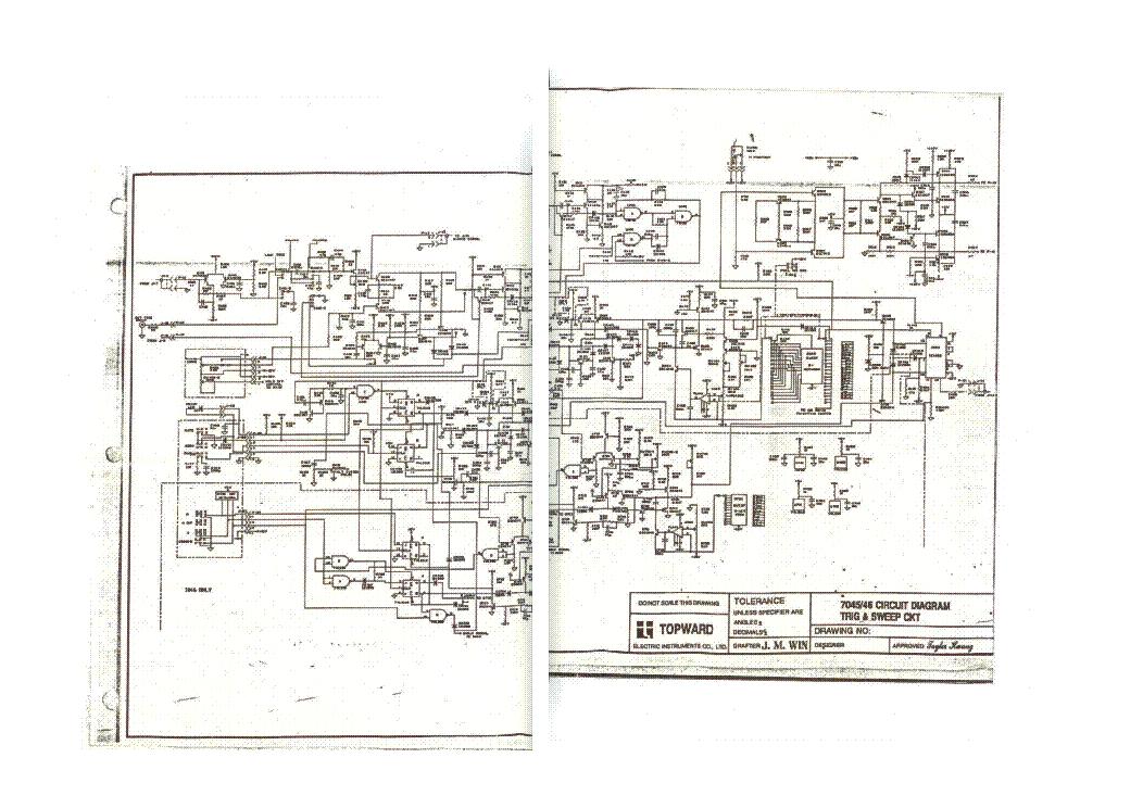 TOPWARD 7045 7046 OSCILLOSCOPE TRIG -SWEEP-VERTICAL-CKT SCH Service