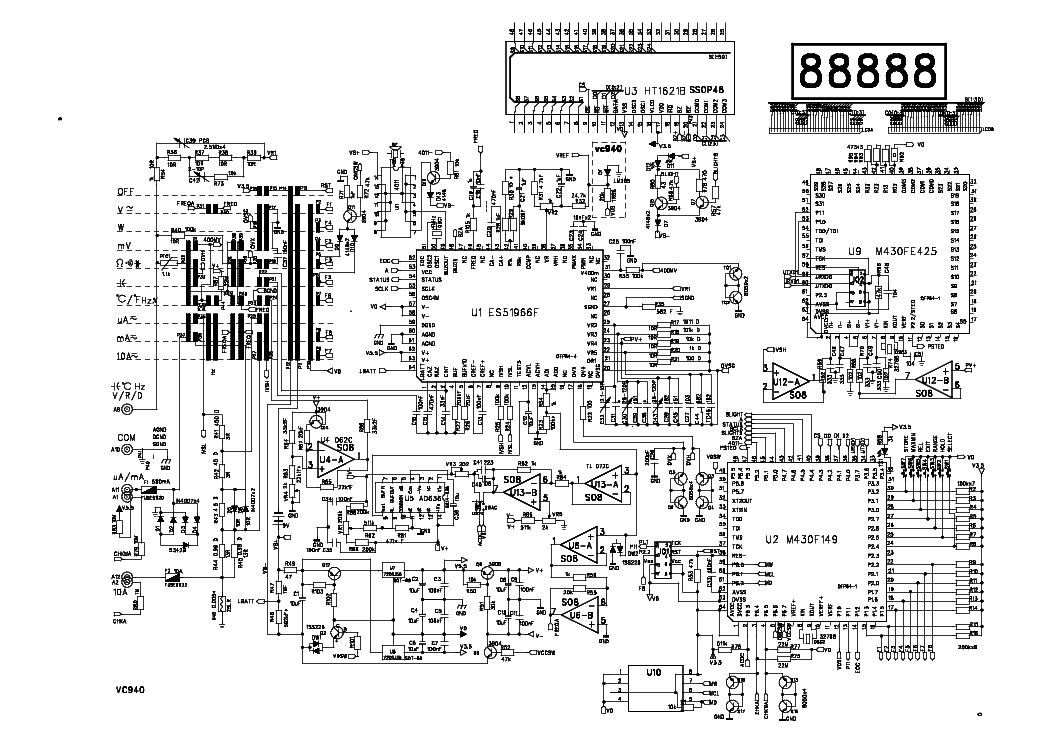 unit multimeter vc940 service manual download  schematics  eeprom  repair info for electronics