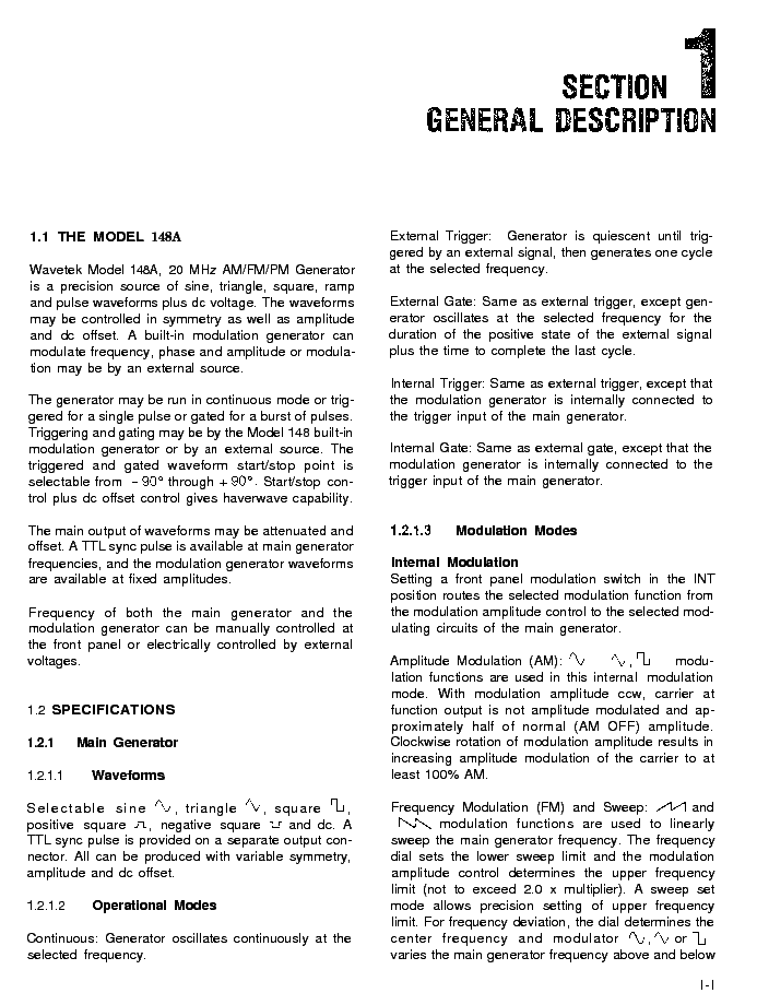 Wavetek 148a User Service Manual Download  Schematics