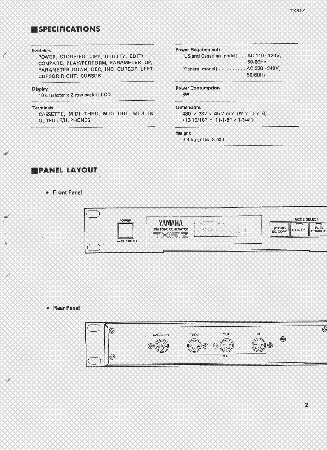 YAMAHA TX81Z SM Service Manual download, schematics, eeprom, repair