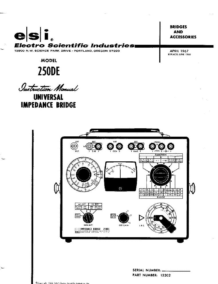 Esi 250de Universal Impedance Bridge 1967 Sm Service