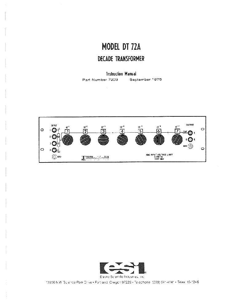 ESI 250DE UNIVERSAL IMPEDANCE BRIDGE 1967 SM Service Manual
